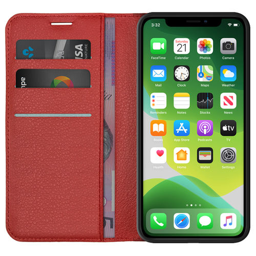 Leather Wallet Case & Card Holder Pouch for Apple iPhone 11 - Red